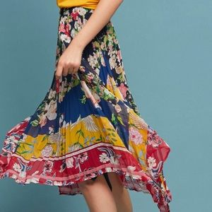 Anthropologie Pleated Hanky Hem Floral Skirt